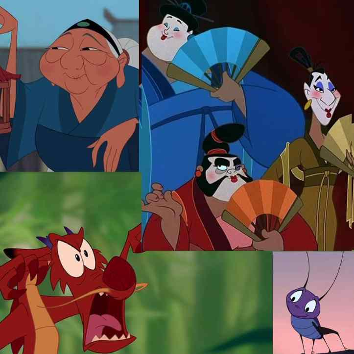 Mushu, Grandmother Fa, Cri-Kee, Yao, Ling, Chien-Po as concubines