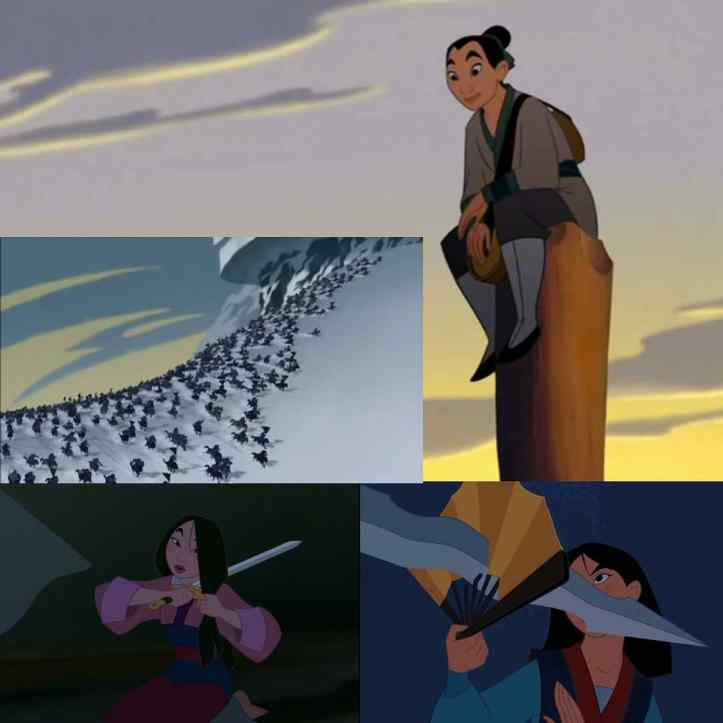 animated Mulan training and fighting the Huns